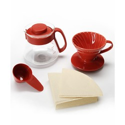 Набор Hario V60 01 Ceramic and Server Red
